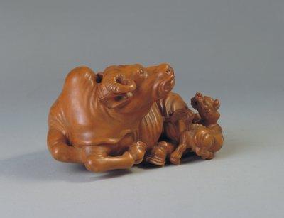 黄杨木雕卧牛
