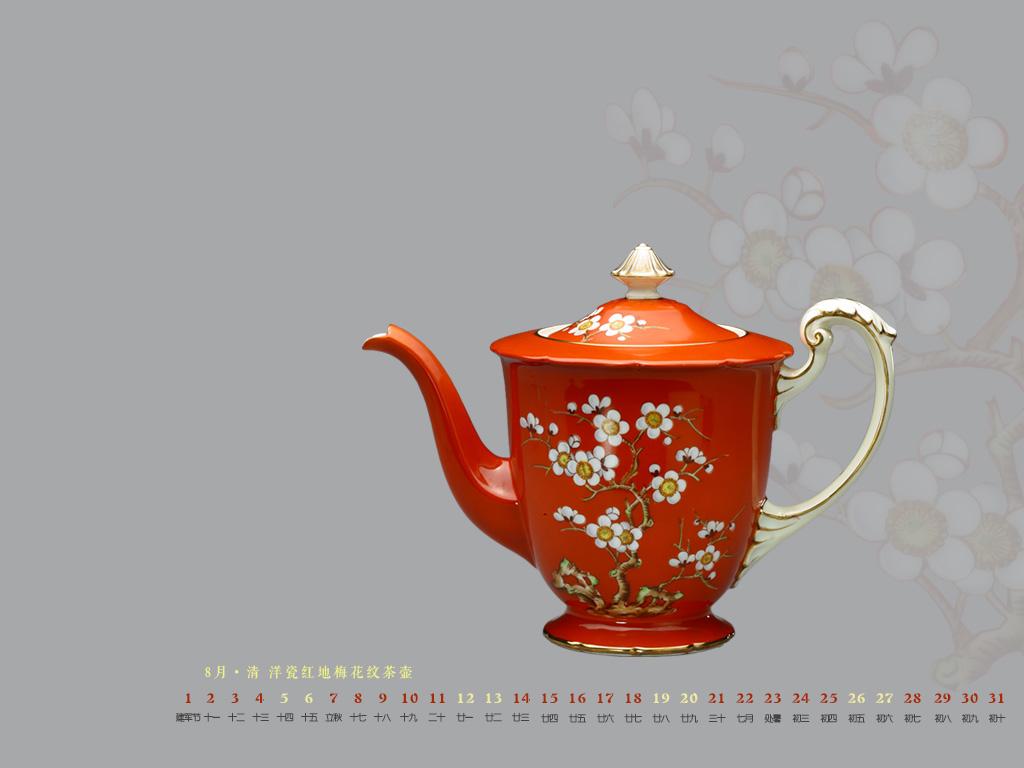 清  洋瓷红地梅花纹茶壶