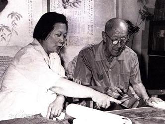 张伯驹夫妇鉴赏绘画作品