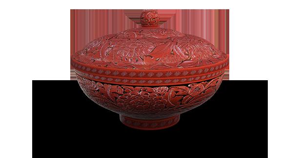 剔红花卉纹盖碗