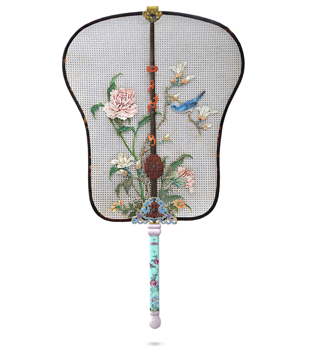 象牙丝编织花鸟纨扇