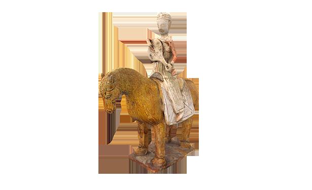 陶黄釉画彩骑马持琵琶女俑