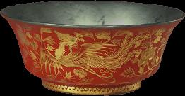 红漆描金凤凰牡丹纹碗
