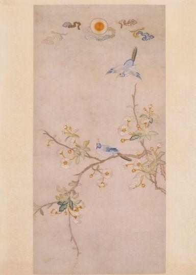 刺绣海棠双禽图轴