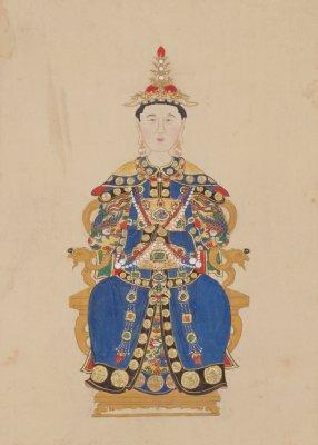 清人画孝惠章皇后像轴